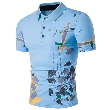 Glestore Herren Poloshirt Kurzarm T-Shirt Ausdrucken Sommer T64857