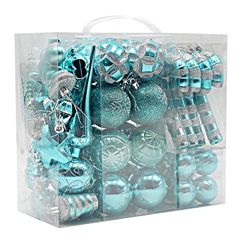 Ornament Collection Set - Woowell Shatterproof Ornaments Christmas Tree Decoration, 54 Set Luxury Collection Turquoise Assorted Xmas Balls, Reusable Hand-held Gift Box (Turquoise)