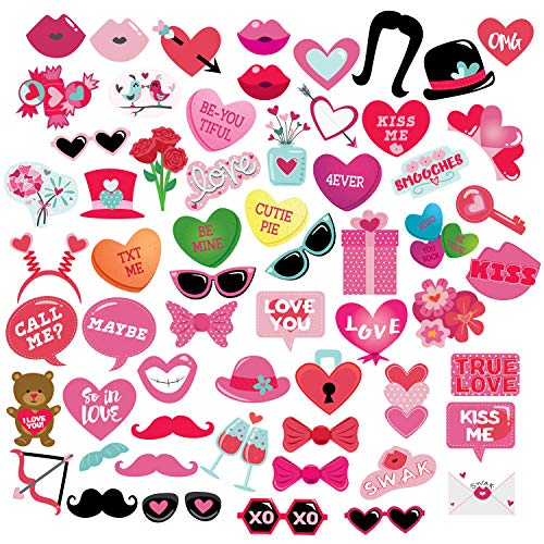 Love Photo Booth Props - 60-Pack Valentines Day Photobooth, Handheld Heart and Kisses Selfie Props, Sticks, and Adhesive Kit, Easy DIY Assembly, Love Themed Party Supplies and Decorations -