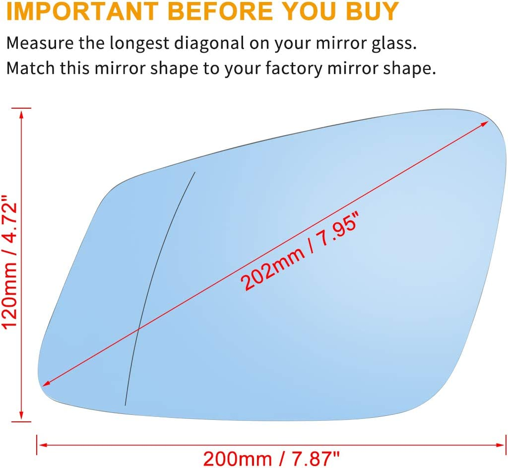X AUTOHAUX Car Driver Left Rearview Blue Tinted Mirror Glass Heated with Backing Plate for BMW 750i 2013-2015