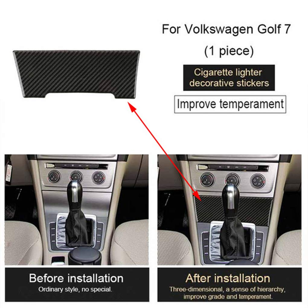 AUWU Replacement for Golf 2013-2017 Cigarette Lighter Panel Decorative Carbon Fiber Cover Stickers