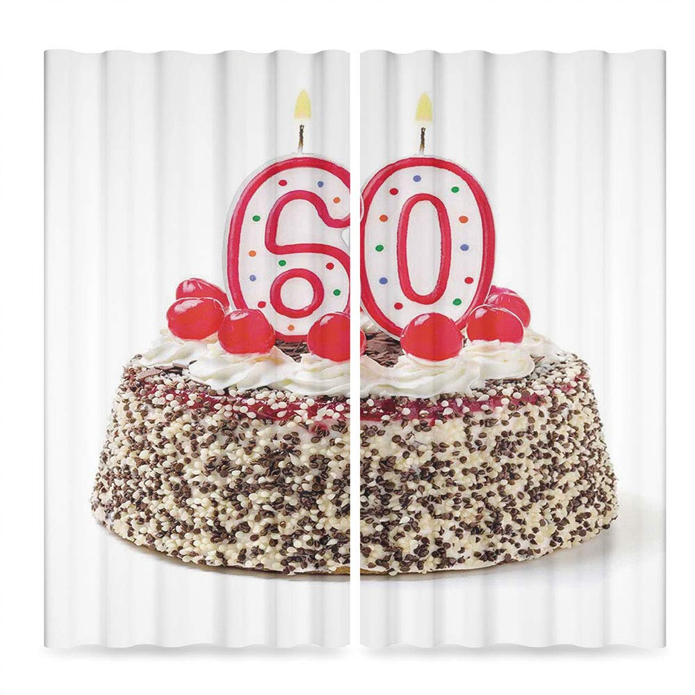 Door Curtain,60th Birthday Decorations for Living Room,Happy Party Cake with Candles Cherries and Sprinkles Image Photo,236Wx106L Inches by TecBillion (Image #2)