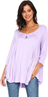 product image for Simplicitie Women's 3/4 Sleeve Loose Fit Flare Flowy T Shirt Tunic Top - Regular & Plus Size - Made in USA