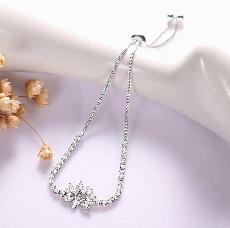 J.F/ée Adjustable Tenis Crystal Bracelet Shining Luxury Jewellery with Gift Box Simulated Diamond Large Bracelet for Women