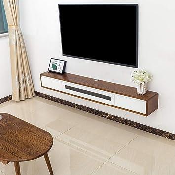 Mueble TV de Madera Maciza para Colgar en la Pared Dormitorio Sala con Cajon Estante de