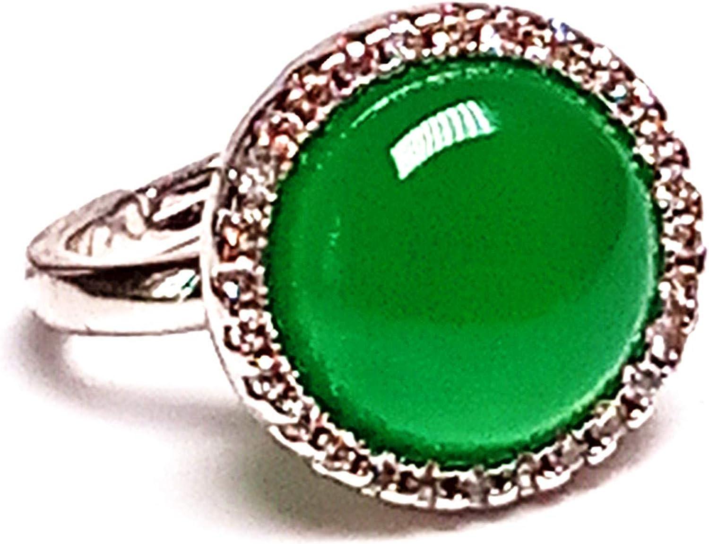 Natural Jade hielo verde cuadrado anillo superficie verde piedra diámetro 20mm