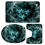 3 Piece Bath Mat Rug Set,Space-Decorations,Bathroom Non-Slip Floor Mat,Space-Nebula-in-the-Space-with-Crystal-Star-Cluster-Galaxy-Solar-System-Cosmos-Print,Pedestal Rug + Lid Toilet Cover + Bath Mat,T