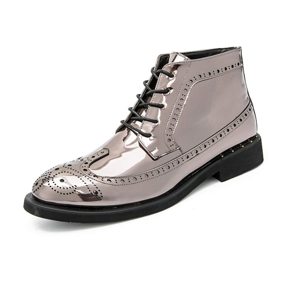 Silver CHENJUAN shoes Men's Fashion Ankle Work Boot Casual Autumn and Winter Classic Carved Patent Leather Brogue High Top Boot