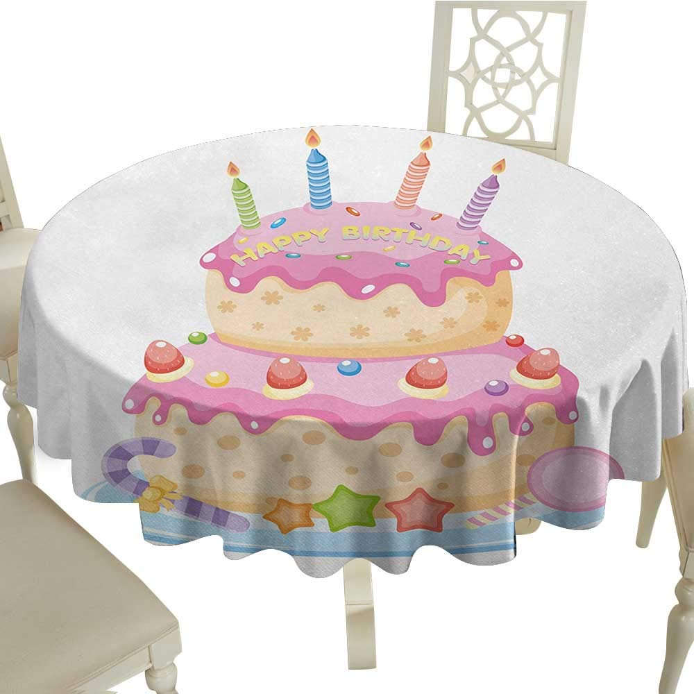 longbuyer White Round Tablecloth Kids Birthday,Pastel Colored Birthday Party Cake with Candles and Candies Celebration Image,Light Pink D60,for 40 inch Table