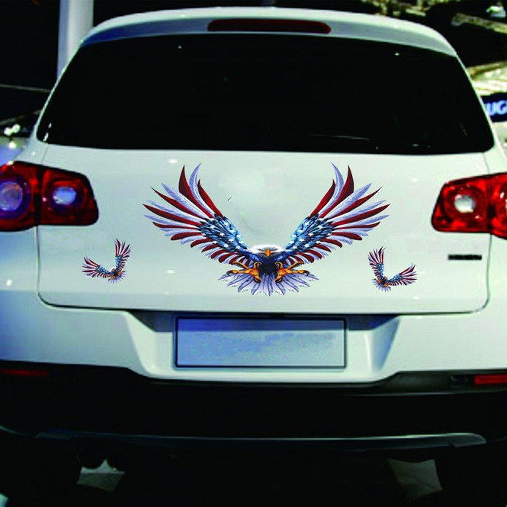 Theshy 1 Set 4 Pezzi Auto Decalcomania Volante Hawk Auto Truck Hood Side Eagle USA Flag Sticker Adesivo per Auto Simons Cat Cane A Bordo Tribale con Nome Tuning Star Wars in Vinile Tricolore