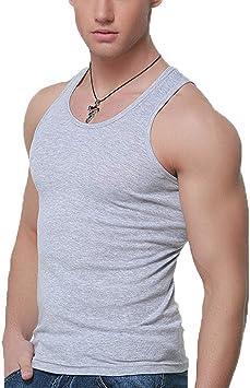 Caidi - Camiseta de tirantes para hombre de algodón liso, camiseta sin mangas, camiseta de deporte, elástica, ajustada, para fitness, gimnasio, cuello redondo gris gris 3XL: Amazon.es: Oficina y papelería