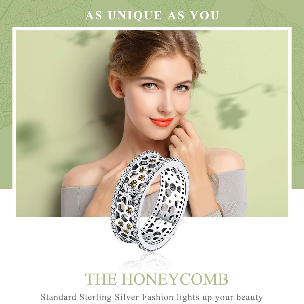 Bee /& Honeycomb 925 Sterling Silver Ring Yellow CZ