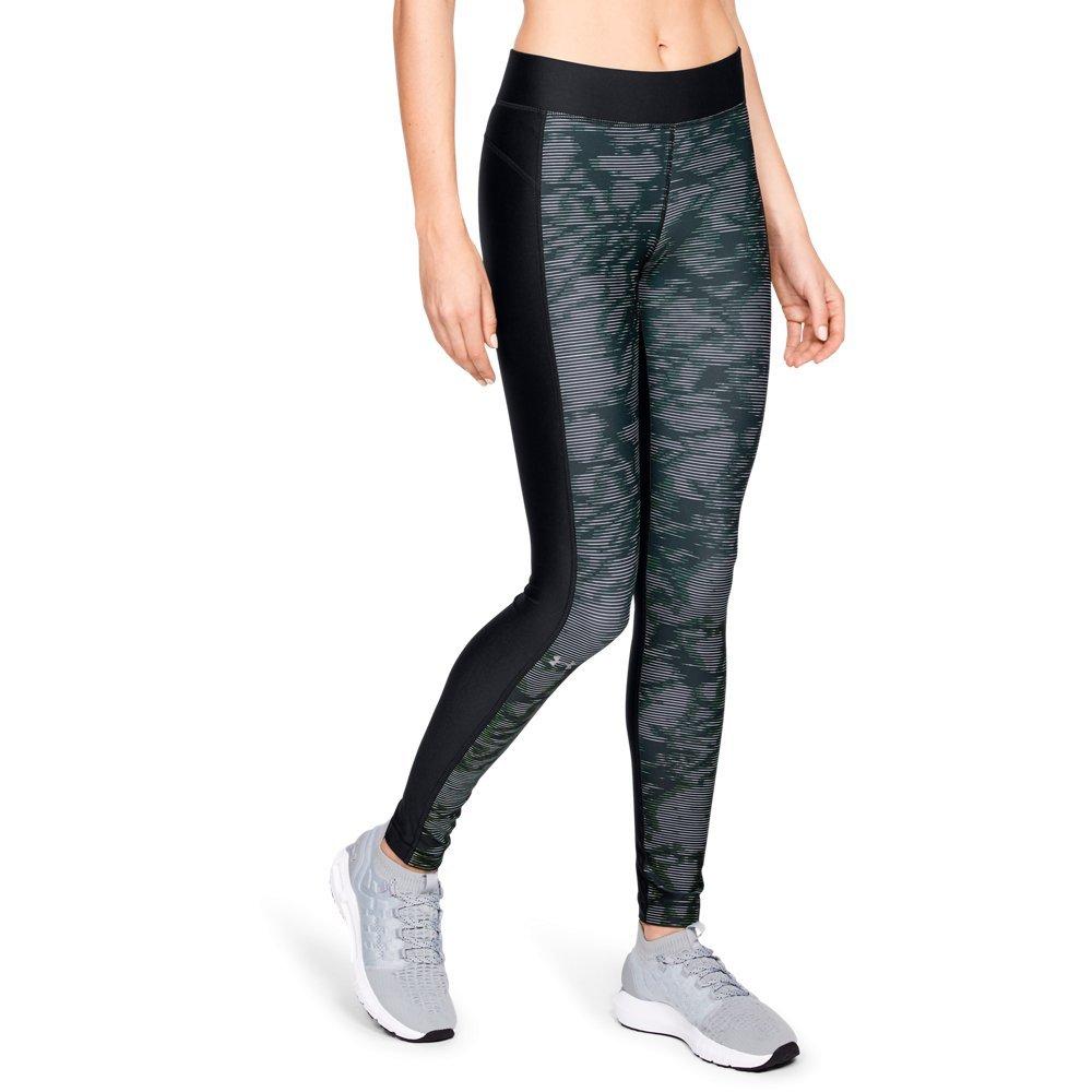 Under Armour Women's HeatGear Armour Printed Legging, Black (003)/Metallic Silver, X-Large