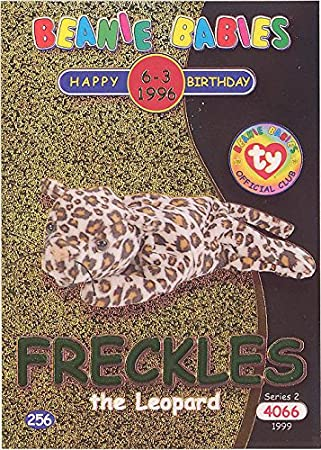 Amazon.com  TY Beanie Babies BBOC Card - Series 2 Birthday (GREEN) - FRECKLES  the Leopard  Toys   Games daccf04a7030