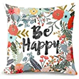 wendana Sayings Be Happy with Flowers Throw Pillow Covers 18 x 18 Pillow Covers Decorative Throw Pillows Covers for Teen Girls