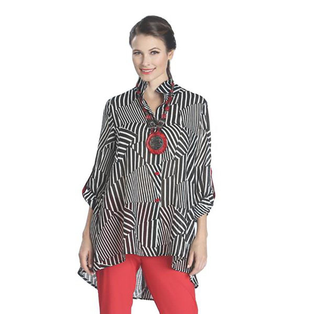 IC Collection Striped High-Low Blouse in Black, White & Red - 1087J (XL)