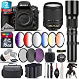 Holiday Saving Bundle for D810 DSLR Camera + 18-140mm VR Lens + 500mm Telephoto Lens + 6PC Graduated Color Filer Set + 2yr Extended Warranty + Backup Battery + UV-CPL-FLD - International Version