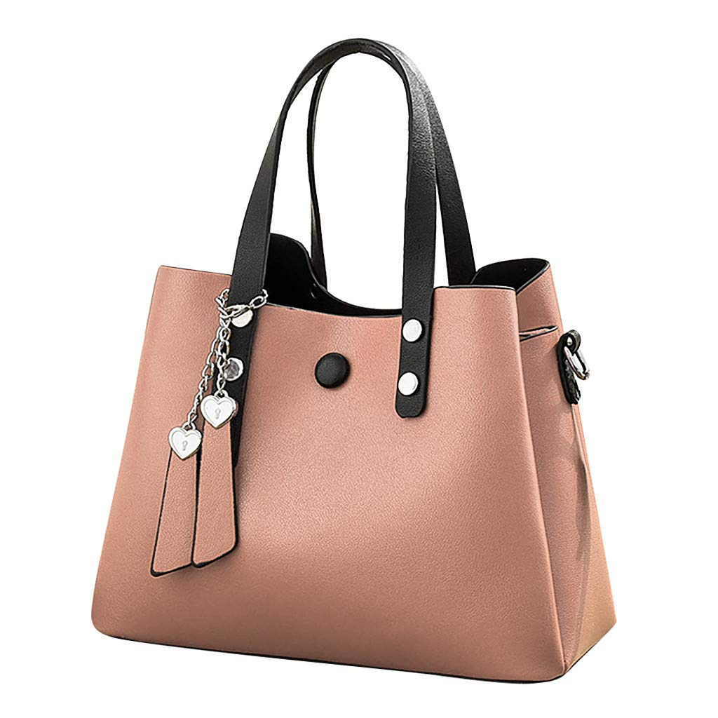 Women's Fashion Leather Shoulder Messenger Crossbody Bags Clutch Totes (Pink)