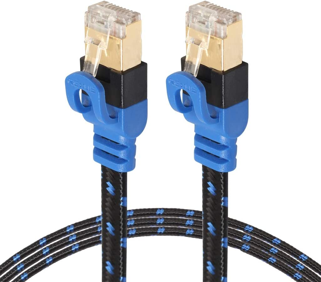 with Shielded RJ45 Connectors Length 0.5m JIN Networking Accessory CAT7-2 Gold-Plated CAT7 Flat Ethernet 10 Gigabit Two-Color Braided Network LAN Cable for Modem Router LAN Network