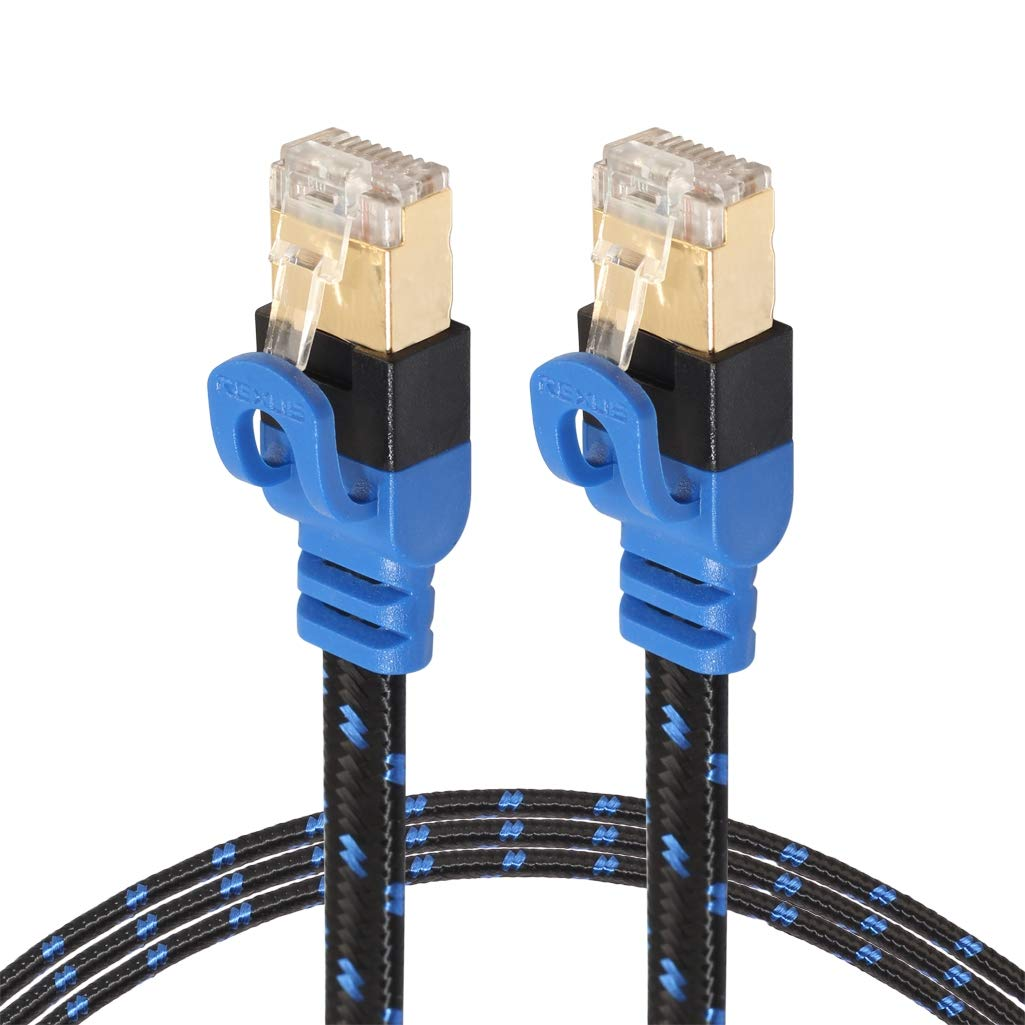 CAT7-2 Gold-Plated CAT7 Flat Ethernet 10 Gigabit Two-Color Braided Network LAN Cable for Modem Router LAN Network, with Shielded RJ45 Connectors, Length: 1m by CAOMING