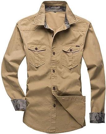KLJR - Camisa militar de manga larga con bolsillos y botones ...