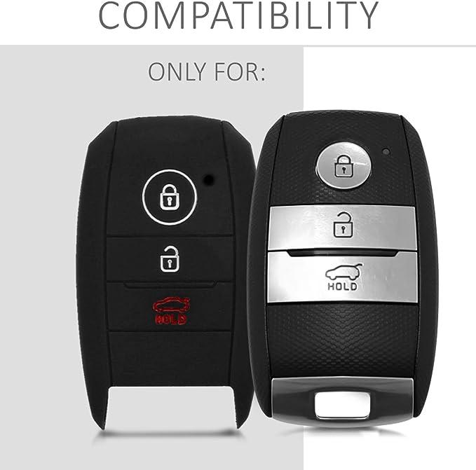 kwmobile Cover Chiave Auto Kia Custodia per Chiave Kia con 3 Tasti Smartkey Guscio Protettivo coprichiave in Morbido Silicone TPU