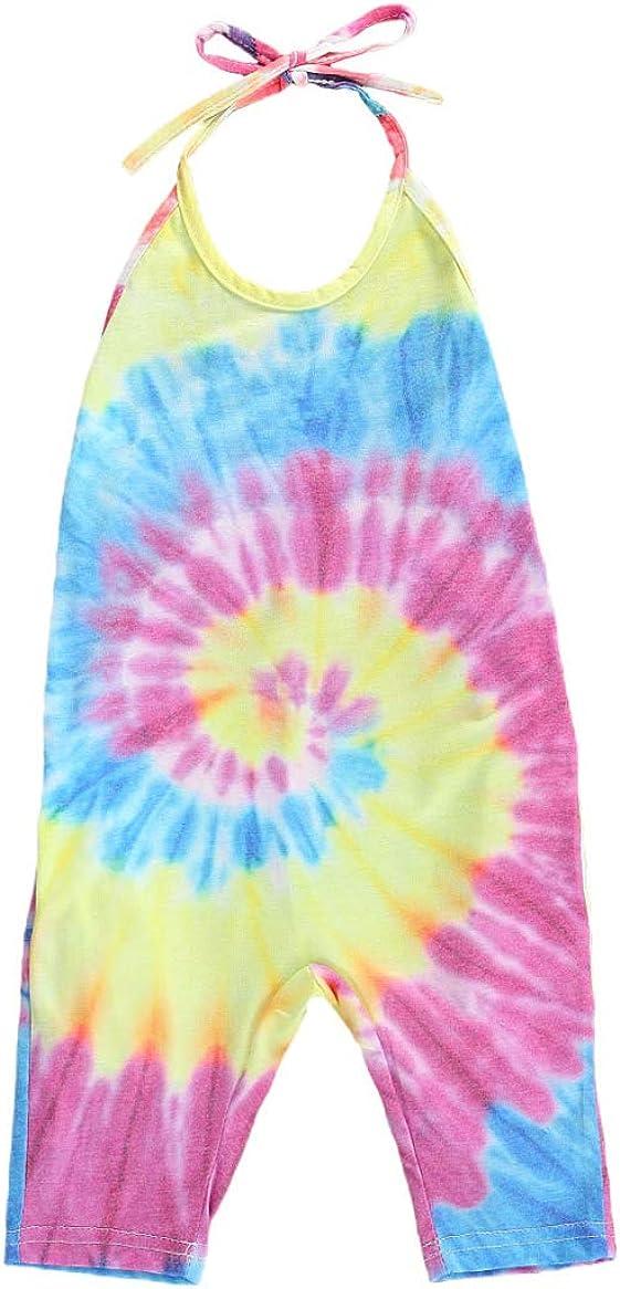 Gueuusu Baby Summer Jumpsuits for Girls Kids Cute Backless Tie Dye Harem Strap Romper Jumpsuit Toddler Pants Size 2-6Y