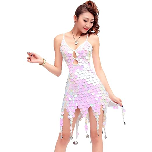 Amazon.com: Fancy Apparel Women Latin Dance Costumes Sequin Fringe Coins Keyhole Lace-up Back Short Dress: Clothing