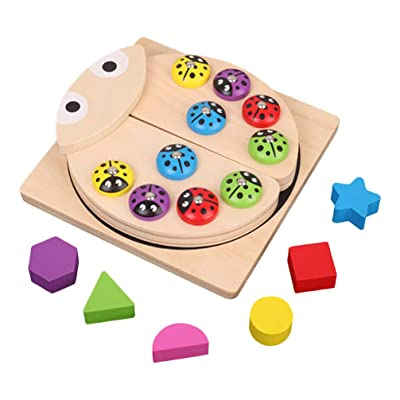 TOYANDONA Wooden Magnetic Fishing Toy Game Ladybug Shaped Fishing Play Set Wooden Puzzle Toy Montessori Preschool Educational Toy for Kids: Toys & Games