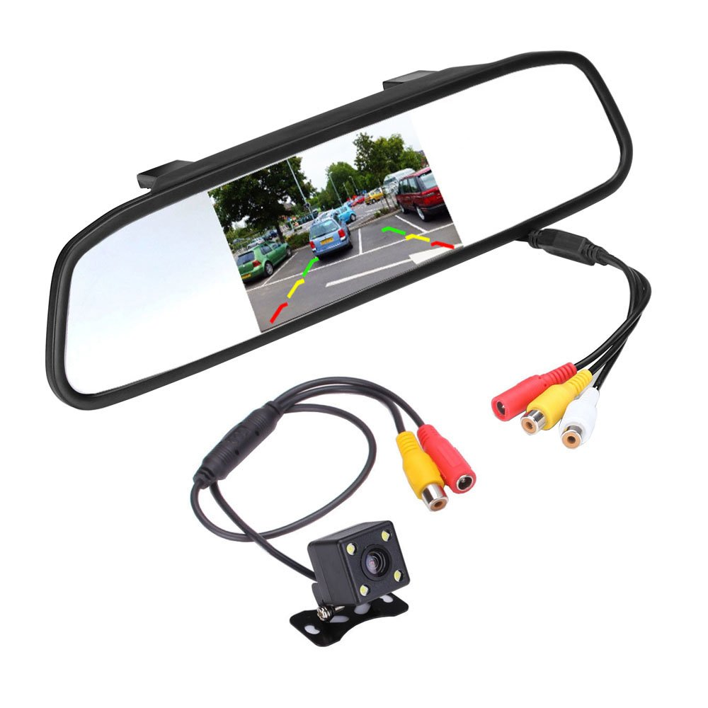 "Amazon.com: podofo Super Mini Backup Camera & 4.3"" Car TFT LCD Mirror  Monitor, Night Vision Waterproof Camera Parking Reverse System Assembly:  Automotive"