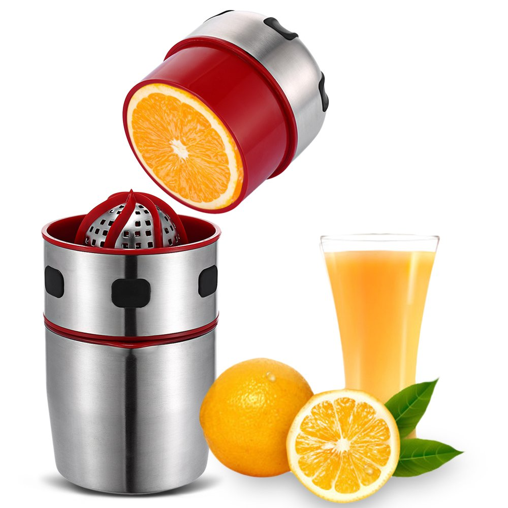 Manual Citrus Press Juicer, Hand Citrus Orange Squeezer - Food Grade Stainless Steel Hand Juicer with Lid Rotation Press Reamer for Lemon Lime Grapefruit with Strainer and Container