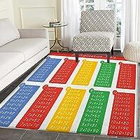 Educational Print Area rug Colorful Classroom Multiplication Table Between One to Ten Elementary School Indoor/Outdoor Area Rug 5x6 Multicolor