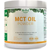 100% C8 MCT Oil Powder 454g | Zero Net Carb (Keto Diet, Vegan Friendly) Medium Chain Triglycerides + Prebiotic Acacia Fiber for Energy Boost and Healthy Gut | Mix in Coffee, Smoothies, Shakes | 16 oz