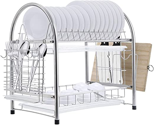 Amazon Com E Gtong 2 Tier Dish Drying Rack Sus 304 Stainless