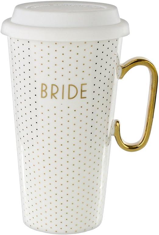 Gold Bride Mud Pie Travel Mug with Lid Wedding Shower