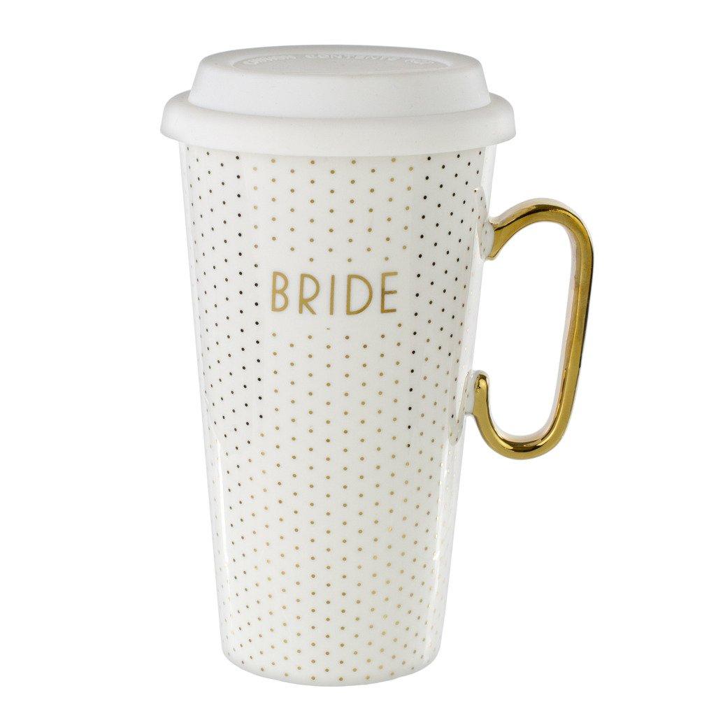 White Ceramic Travel Mug & Lid: 18 Oz Coffee Mug for Bride - White & Gold Bridal Mug with Handle
