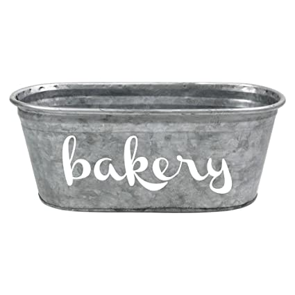 A Southern Bucket Bakery Decorative Metal Storage Bin, White/Galvanized  Metal, Hand Painted