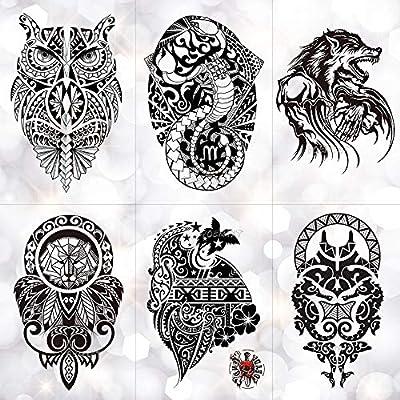 Etiqueta Engomada Del Tatuaje Temporal Black Wolf Lion Totem ...