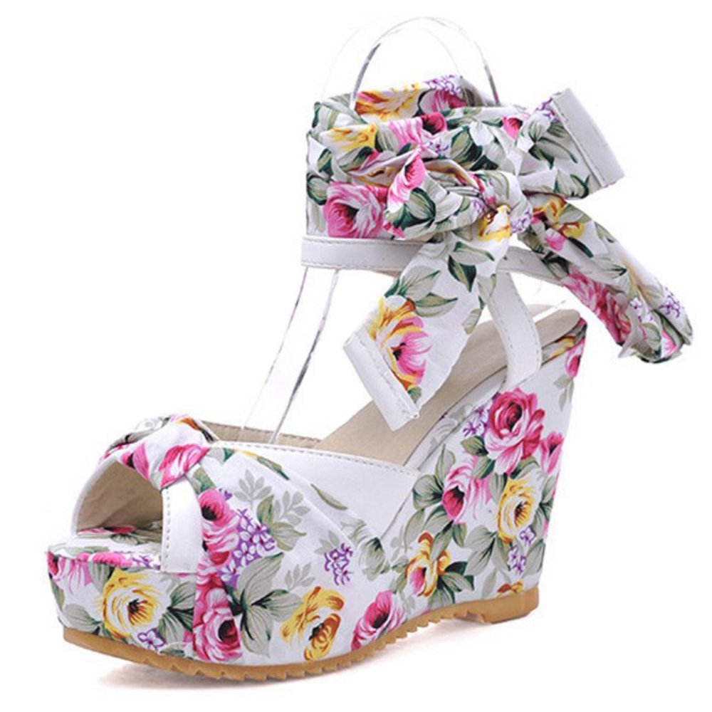 Smilice Women Wedge Heel Sandals Colorful Straps Shoes Peep Toe Cute Shoes B06XZ882YH 34 EU = US 3 = 22 CM|Beige