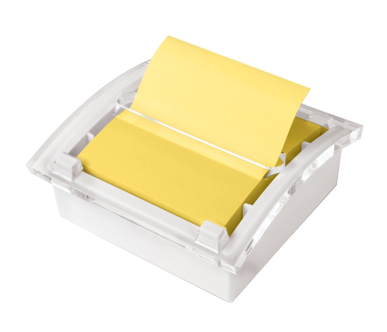 Post-it Pop-up Notes Dispenser, 3 in x 3 in, White Base Clear Top (DS330-WH) by Post-it