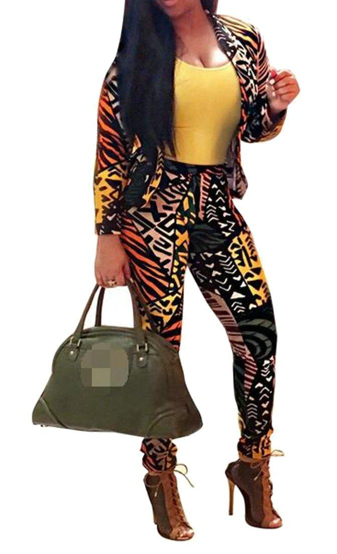 Wofupowga Womens Leopard Bodycon Pants Suit Sets Jacket Blazer 2 Piece