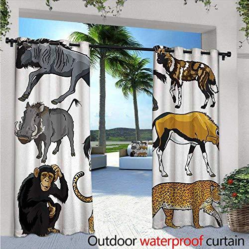 (BlountDecor Zoo Fashions Drape W84 x L108 Collection of Cartoon Style Wild Animals of Africa Fauna Habitat Savannah Wilderness Outdoor Curtain Waterproof Rustproof Grommet Drape Multicolor)