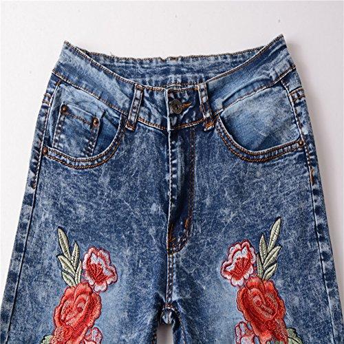Pantaloni Chiaro Pantaloni Pantaloni Azzurro Denim Strappati Distressed Jeans Donna Boyfriend Ricamo w8AUUq