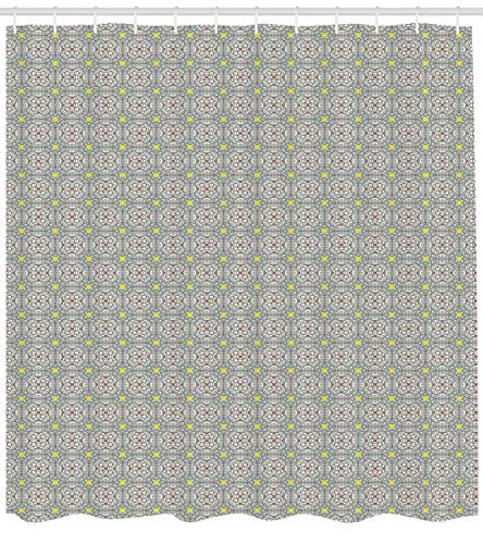 """Vintage Shower Curtain, Abstract Mosaic Tile Look Pattern in Pastel Tones, Cloth Fabric Bathroom Decor Set with Hooks, 105"""" Extra Wide, Coconut Umber Pale Blue and Avocado Green"""