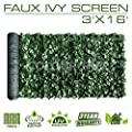 ColourTree 3' x 16' Artificial Hedges Faux Ivy Leaves Fence Privacy Screen Cover Panels ?Decorative Trellis - Mesh Backing - 3 Years Full Warranty