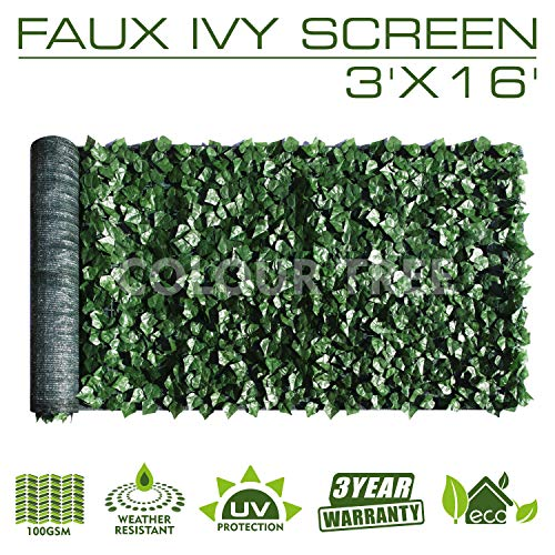 ColourTree 3' x 16' Artificial Hedges Faux Ivy Leaves Fence Privacy Screen Cover Panels  Decorative Trellis - Mesh Backing - 3 Years Full Warranty
