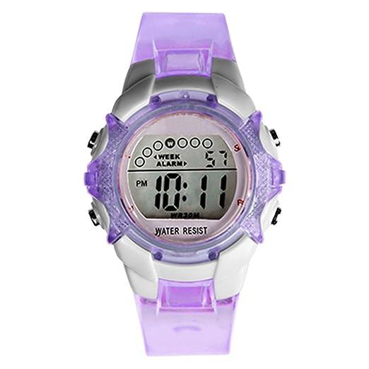 Las niñas LED Digital cuarzo alarma fecha impermeable de los deportes reloj de pulsera, color morado: Amazon.es: Relojes