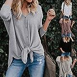 DaySeventh Summer Deals 2019 ! Womens Loose Knit Tunic Blouse Tie Knot Henley Tops Bat Wing Plain Shirts