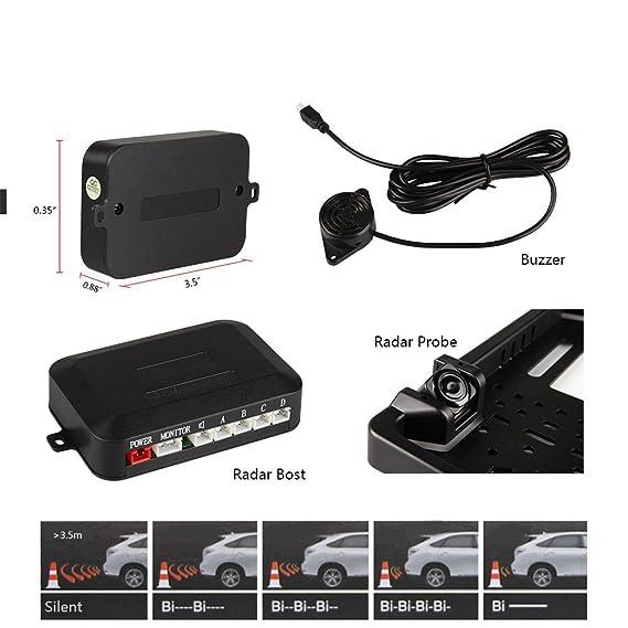 Cámara Trasera Coche, Koyoso Placa de Matrícula con Sensor de Estacionamiento, Universal Revertir Backup Cámara con 8 LED 170° IP68 12V: Amazon.es: Coche y ...