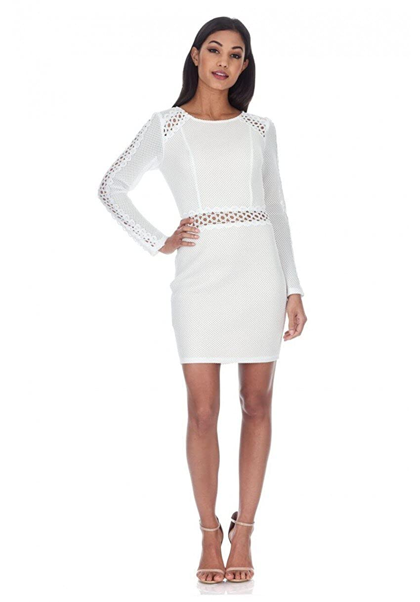 0ade9a09c1 We are obsessing over our cream mesh sleeved mini dress. Featuring crochet  detailing and a nude body underlay. Style with nude strappy heels and  simple ...